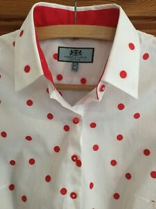 Hawes & Curtis Ladies Shirt White With Red Polkadots Smart Work Size 10