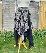 Vintage Boho Asymmetrical Layered  Black And White Floaty Skirt Size S