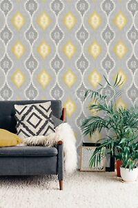 Heavyweight Vinyl Geometric Design San Marino Ogee Neutral Grey Yellow Glitter