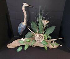 Vintage Blue Heron on Driftwood Faux Floral Table Arrangement
