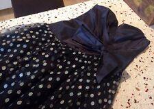 Gorgeous Genuine Vintage Black Metallic Polkadot Party Dress Frock S. 8 - 10