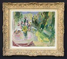 RAYA SAFIR (1909-2004) PEINTURE FAUVISTE VUE SUR LE JARDIN DU PEINTRE 1950 (226)