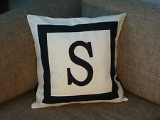 PERSONALISED CUSHION COVER - MONOGRAM INITIAL - WHITE  -