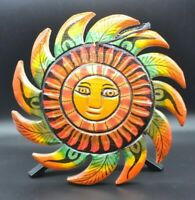 Vintage Mexican Folk Art Hand Carved Wood Sun Face Wall Hanging Painted 9 Inch