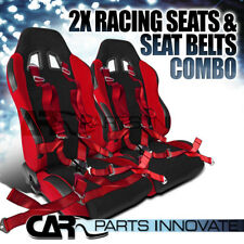 T-R Style Black Red Cloth Driver+Passenger Side Racing Seats+Red Camlock Belt