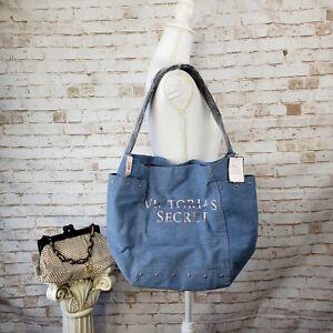 NWT Victoria's Secret Denim & Rose Gold Studded Large Tote Bag Travel Beach $58
