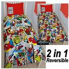 MARVEL COMICS JUSTICE SINGLE DUVET COVER SET REVERSIBLE IRON MAN HULK THOR NEW