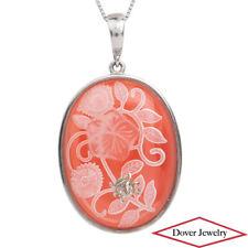 Estate Carnelian Silver Intaglio Crystal Flower Ladybug Pendant 18.6 Gr NR