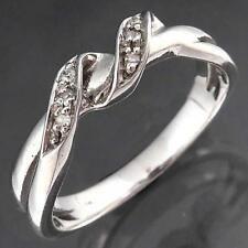 Curling Solid 9k WHITE GOLD 6 DIAMOND TWIST RIBBON ETERNITY RING Sz M1/2
