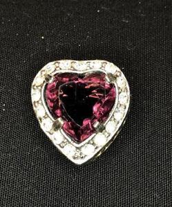 Valentinstag 0.55CT Natürlicher Diamant 14K Massiv Gelbgold Rubin Herz Brosche