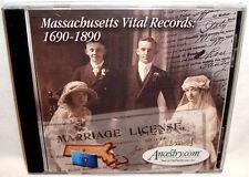 Ancestry Massachusetts Vital Records 1690-1890 Pc Cd Family Genealogy Research!