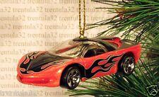 1988 PONTIAC BANSHEE Concept Car CHRISTMAS ORNAMENT Orange w Flames XMAS
