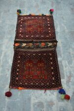 2 x 4'3 Feet Vintage Handmade Afghan Baluchi Wool Traditional Saddle bag.