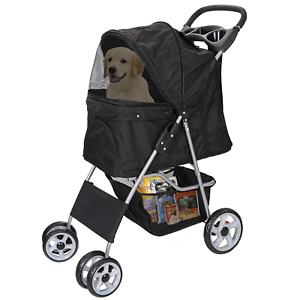 Foldable Pet Dog Stroller for Cats and Dog Four Wheels Carrier Strolling Cart wi