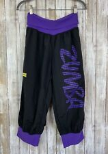 Official ZUMBA Black Purple Workout Waist Dance Jogger Pants Capri Crop L Large