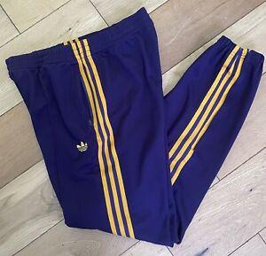Men's Vintage Adidas Firebird Track Pants Bottoms Trefoil Purple Orange Size M