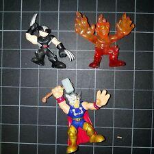 Superhero Squad SHS Lot 3 Black Dark Silver Wolverine, Human Torch & Thor Hammer