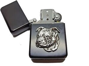 Staffordshire Bull Terrier Petrol Lighter in Pouch Staffy Head English Pewter Em