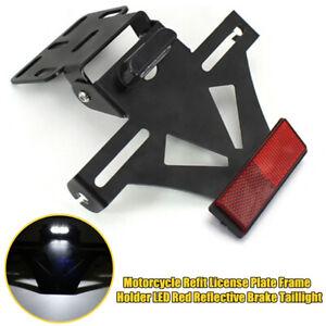 1×Motorcycle Refit License Plate Frame Holder LED Red Reflective Brake Taillight
