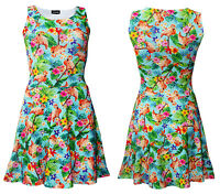 Tropical Flamingo Floral Flowers Retro Vintage Rockabilly Swing Skater dress