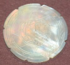 ANTIQUEc1800's HAND CARVED MOTHER-of-PEARL, silk THREAD ROUNDDesign WINDER-RaRe