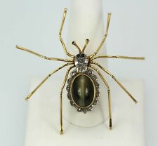 RETRO CAT'S EYE CHRYSOBERYL SPIDER BROOCH W/SCALLOPED DIAMOND ACCENTS 18K Y/GOLD