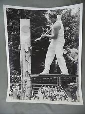 Vintage B&W Victoria B.C. Newspaper Photo Two Men Log Woodsman Competition