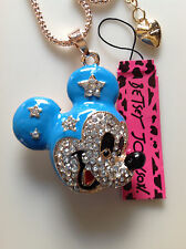 """BLUE MICKEY MOUSE FACE  28"""" Pendant Necklace Betsey Johnson+"""