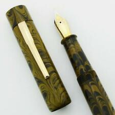 Ranga Ebonite 3S Fountain Pen, Slim Flat Top - Yellow Ripple, JoWo #6 Nibs (New)