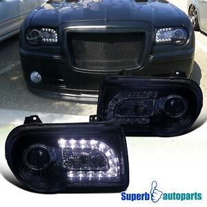 For 2005-10 Chrysler 05-10 300C Smoke Projector Headlights LED Bar Glossy Black