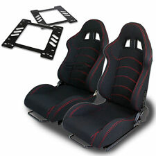 TYPE-1 RACING SEAT BLACK CLOTH+SILDER+FOR 78-88 MONTE CARLO A/G-BODY BRACKET X2
