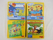 4 x HABA Kinderspiel / Lernspiel - Obstgärtchen, Rennraupe, Ratz Fatz, Lesehexe