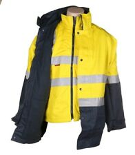 HARD YAKKA 4 in 1 Cotton Drill Jacket Size M 3M Reflective Tape Yellow High Vis