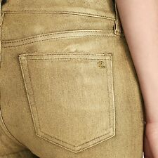 NWT Polo Ralph Lauren Gold Metallic Stretch Skinny Jeans Size 8