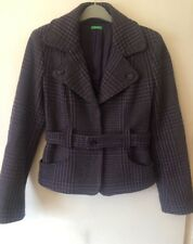 United Colours of Benetton UK 14 Belted Fitted Swing Coat Purple Wool Occasion