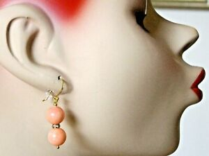 NATURAL APRICOT CORAL EARRINGS WITH GOLD PLATED OVER 925 STERLING SILVER HOOKS