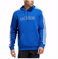 New Adidas Men's Fleece Pullover Three Stripes Hoodie Blue S M L XL XXL