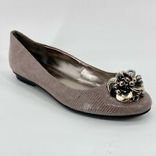 New Calvin Klein Maxee Mauve Leather Ballet Flats Shoes with Silver Beading 8M