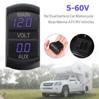 Dual Voltmeter 10-60VDC Blue LED Voltage volt Monitor Rectangle ARB Carling Size