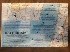 "1963 NATIONAL GEOGRAPHIC MAGAZINE 25"" X 19"" MAP OF HOLY LAND TODAY 1963 00087"