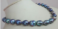 "New 8-9mm baroque tahitian black blue pearl necklace 18"" AAA"