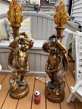 Vintage Pair of Large Cherub Lamp Gilded Plaster Lamps