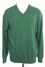 Lands' End Sweater Men's Large L 42-44 Green V-Neck 100% Cashmere