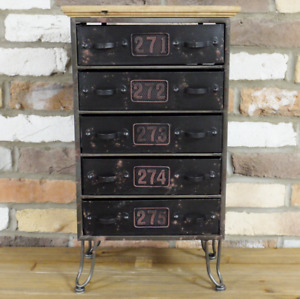 Drawers Storage Cabinet Industrial Style 5 Drawer Organiser 58cm Bedside Cabinet