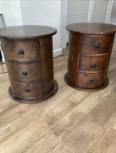 Sheesham Jali Solid Wood Drum Side Tables X3