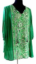 Open Shoullder Sheer Green Peasant Top Plus 2X 22/24W S/S Blouse Catherines NWT