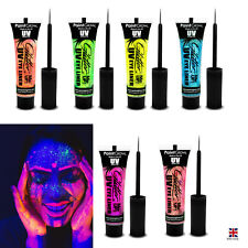 GLITTER UV EYE LINER Face Body Glow Make Up Ladies Fancy Dress Party Club UK