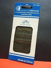 12 Self Threading Hand Sewing Needles 3 Sizes Earth Axis Brand Standard Sharps