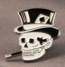 Metal Enamel Pin Badge Brooch Skull Smoking Smoker Skull Ace of Spades