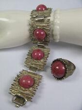 Vintage 925 Silber Armband & Ring Rodochrosit Cabochon - Design bracelet silver